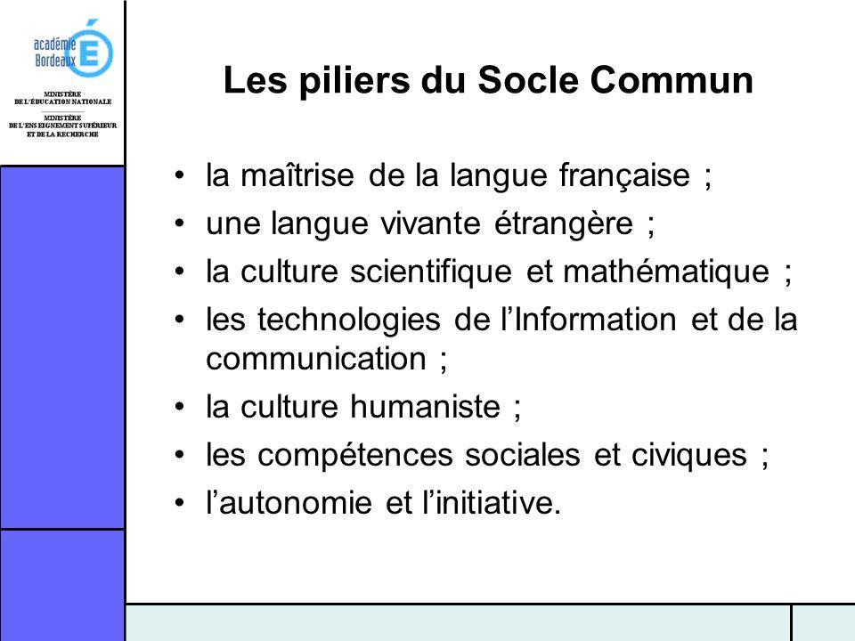 Les piliers du Socle Commun la maîtrise de la langue française ; une langue vivante étrangère ; la culture scientifique et mathématique ; les technolo