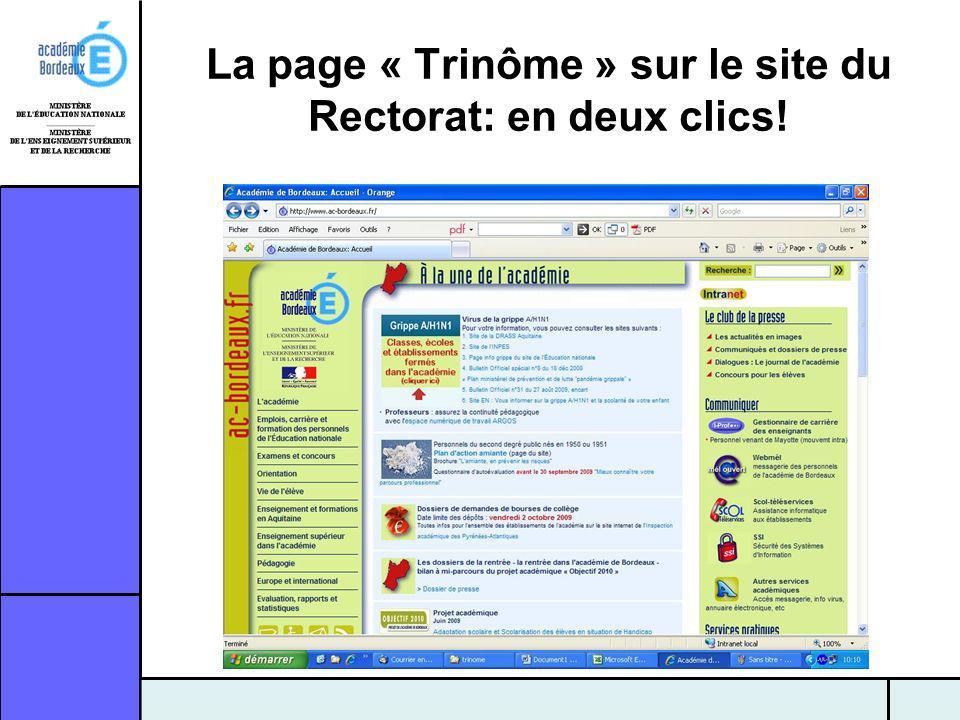 La page « Trinôme » sur le site du Rectorat: en deux clics!