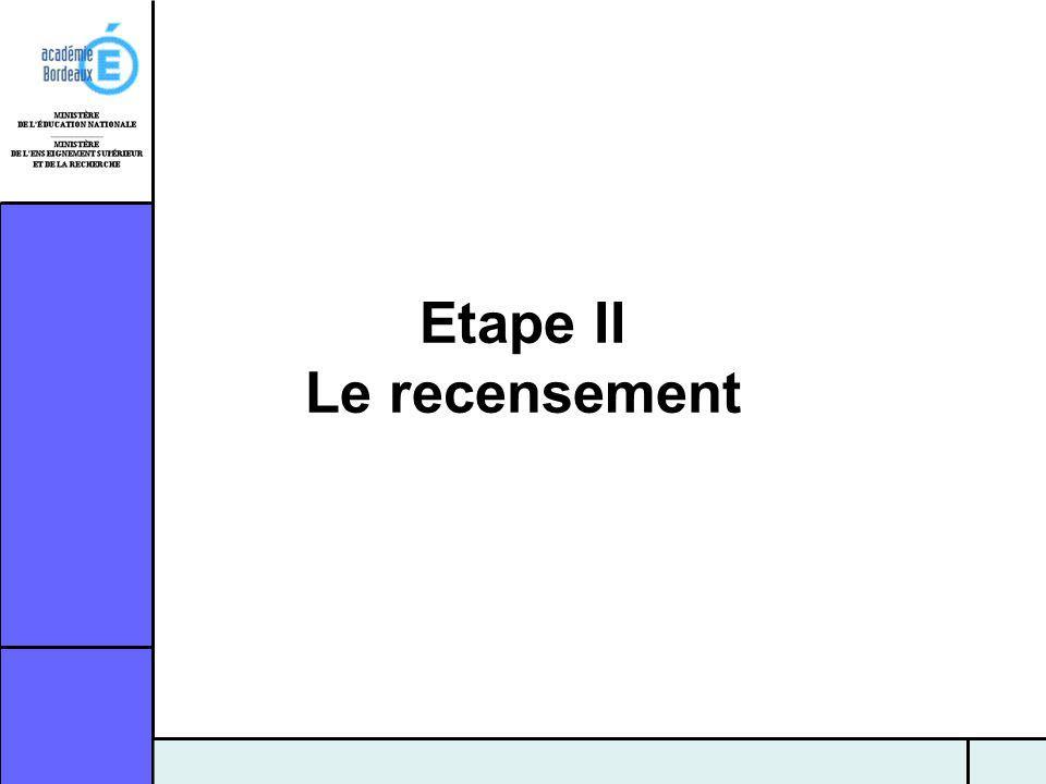Etape II Le recensement