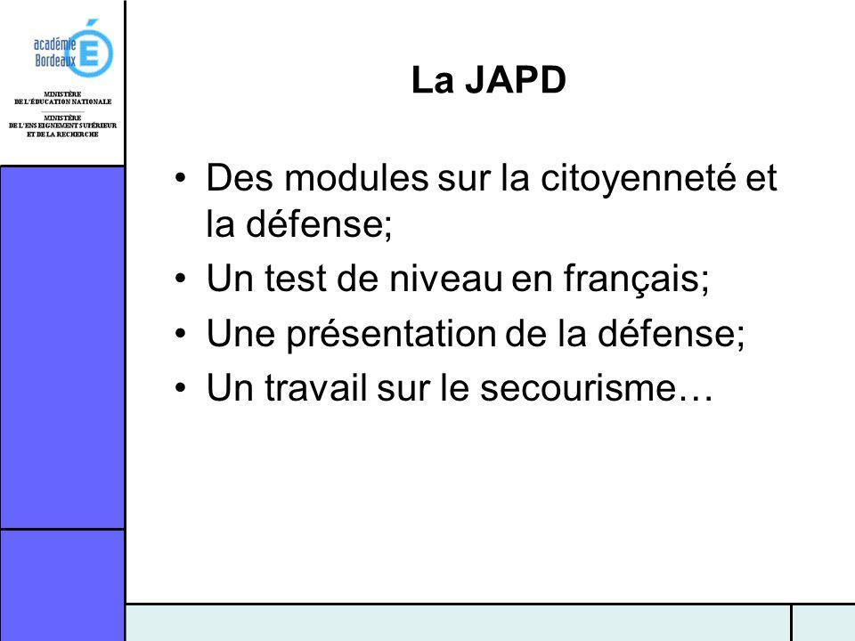 La JAPD Des modules sur la citoyenneté et la défense; Un test de niveau en français; Une présentation de la défense; Un travail sur le secourisme…