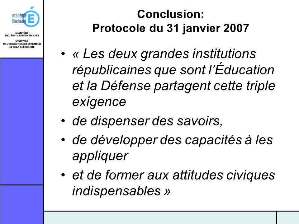 Conclusion: Protocole du 31 janvier 2007 « Les deux grandes institutions républicaines que sont lÉducation et la Défense partagent cette triple exigen