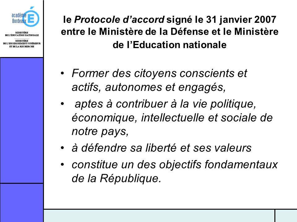 le Protocole daccord signé le 31 janvier 2007 entre le Ministère de la Défense et le Ministère de lEducation nationale Former des citoyens conscients