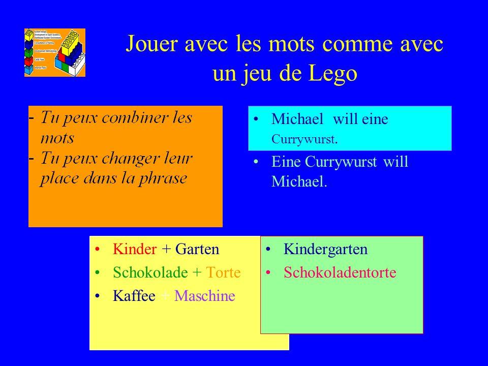 Jouer avec les mots comme avec un jeu de Lego Kinder + Garten Schokolade + Torte Kaffee + Maschine Kindergarten Schokoladentorte Michael will eine Cur