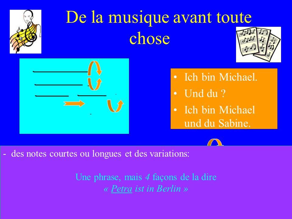 De la musique avant toute chose Ich bin Michael. Und du ? Ich bin Michael und du Sabine. - des notes courtes ou longues et des variations: Une phrase,