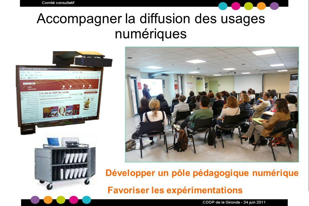 Accompagner la diffusion des usages numériques Développer un pôle pédagogique numérique Favoriser les expérimentations