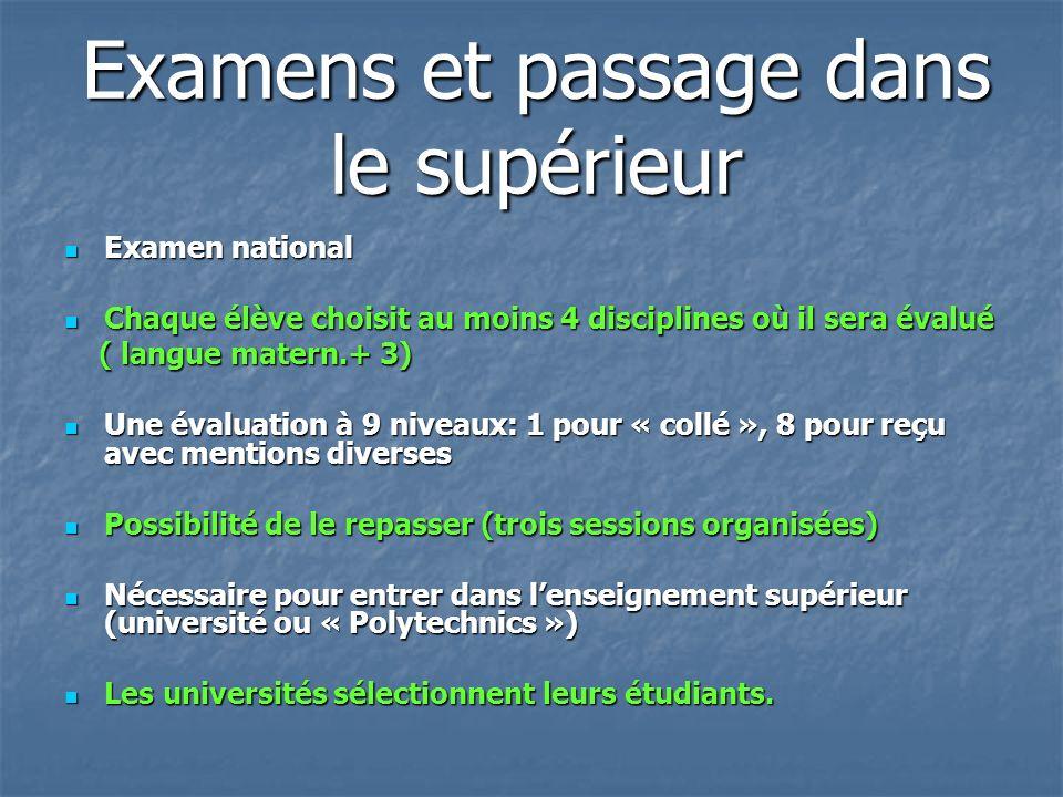 Examens et passage dans le supérieur Examen national Examen national Chaque élève choisit au moins 4 disciplines où il sera évalué Chaque élève choisi