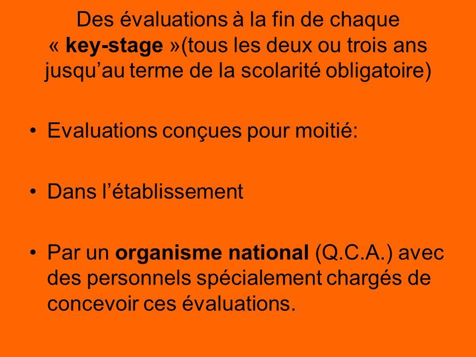 Des évaluations à la fin de chaque « key-stage »(tous les deux ou trois ans jusquau terme de la scolarité obligatoire) Evaluations conçues pour moitié