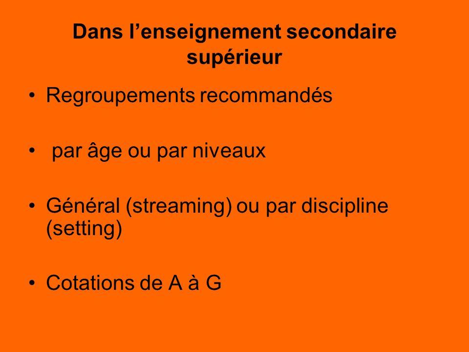 Dans lenseignement secondaire supérieur Regroupements recommandés par âge ou par niveaux Général (streaming) ou par discipline (setting) Cotations de