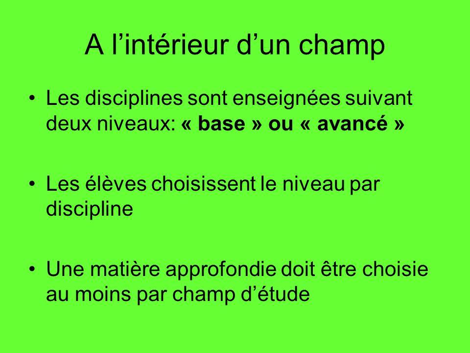 A lintérieur dun champ Les disciplines sont enseignées suivant deux niveaux: « base » ou « avancé » Les élèves choisissent le niveau par discipline Un