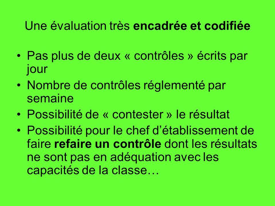 Une évaluation très encadrée et codifiée Pas plus de deux « contrôles » écrits par jour Nombre de contrôles réglementé par semaine Possibilité de « co