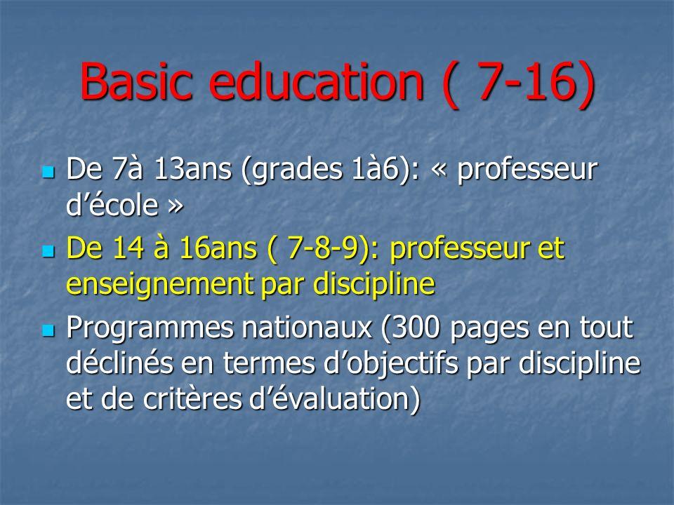 Basic education ( 7-16) De 7à 13ans (grades 1à6): « professeur décole » De 7à 13ans (grades 1à6): « professeur décole » De 14 à 16ans ( 7-8-9): profes