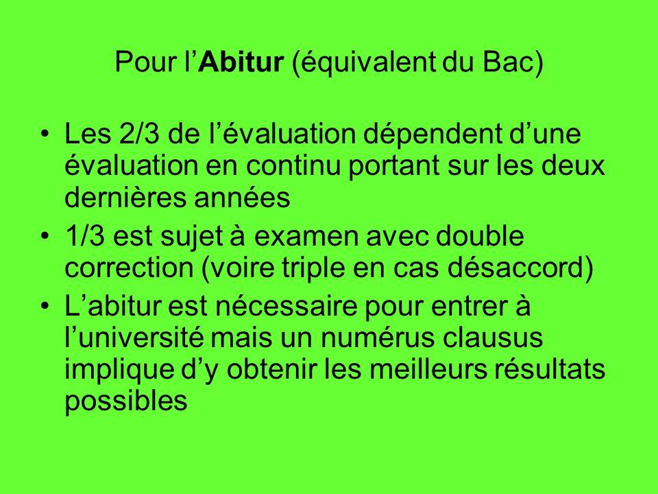 Pour lAbitur (équivalent du Bac) Les 2/3 de lévaluation dépendent dune évaluation en continu portant sur les deux dernières années 1/3 est sujet à exa