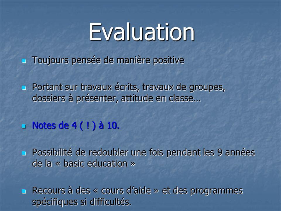 Evaluation Toujours pensée de manière positive Toujours pensée de manière positive Portant sur travaux écrits, travaux de groupes, dossiers à présente