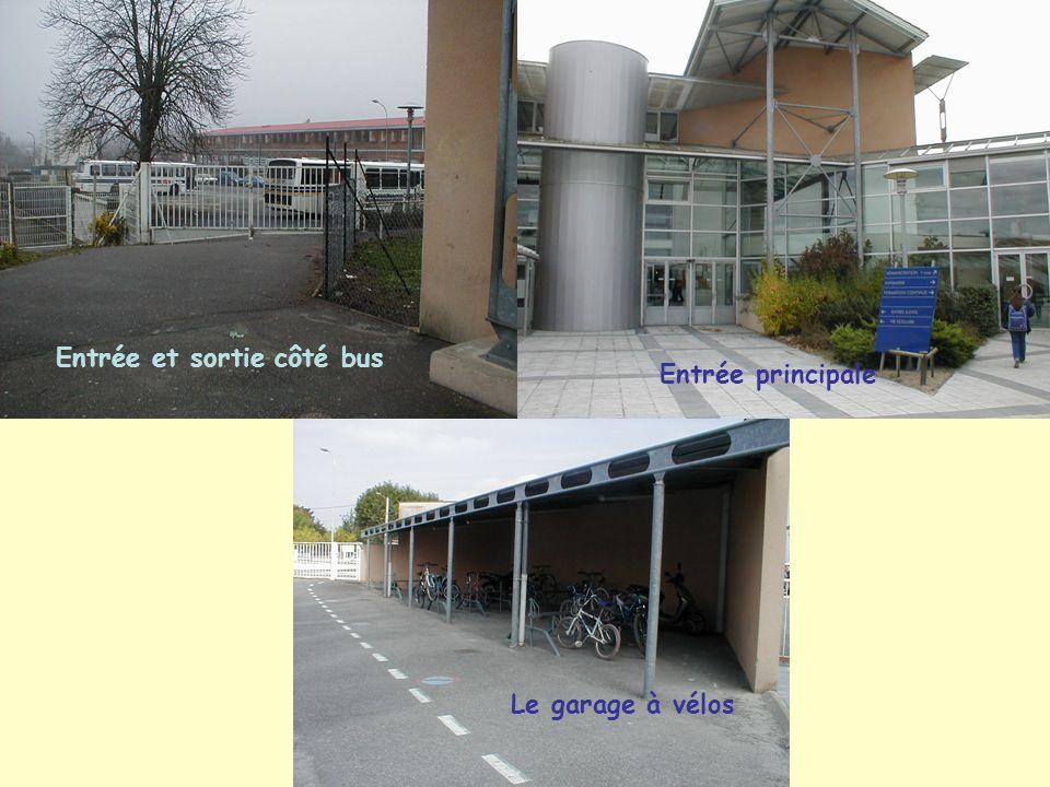 Entrée et sortie côté bus Entrée principale Le garage à vélos