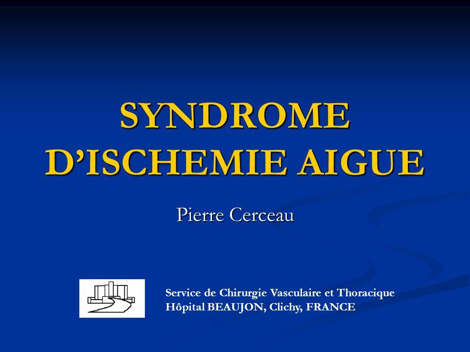 SYNDROME DISCHEMIE AIGUE Pierre Cerceau Service de Chirurgie Vasculaire et Thoracique Hôpital BEAUJON, Clichy, FRANCE