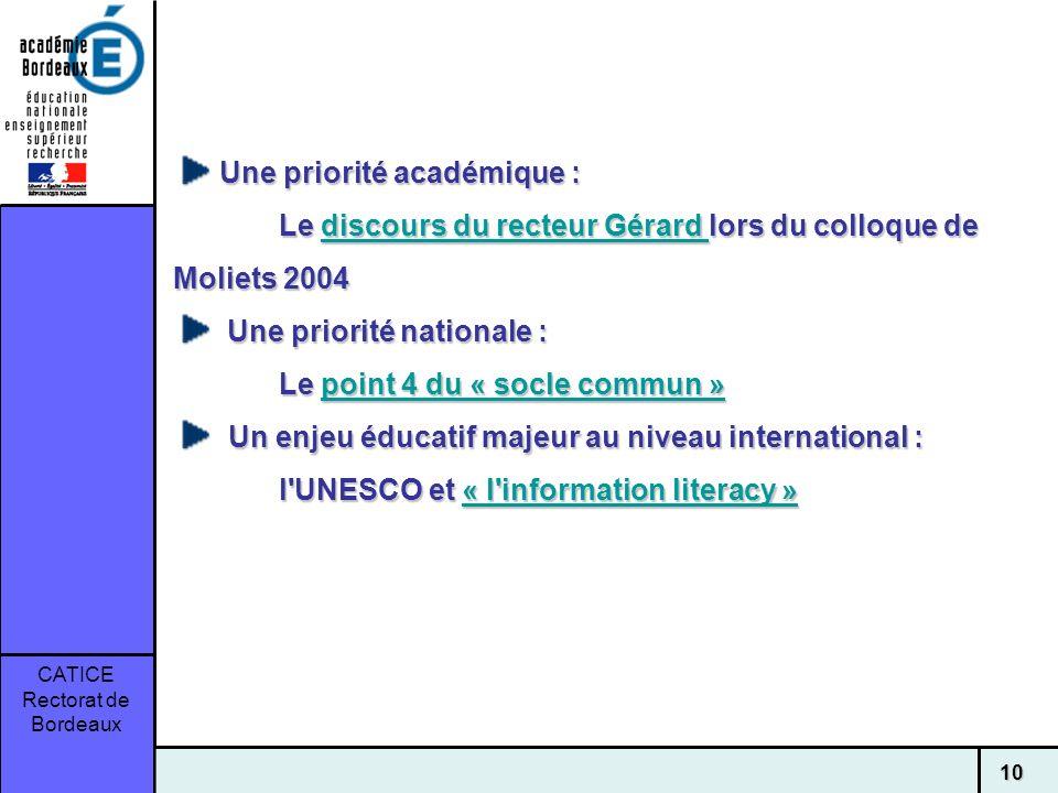 CATICE Rectorat de Bordeaux 10 Une priorité académique : Le discours du recteur Gérard lors du colloque de Moliets 2004 Une priorité académique : Le d