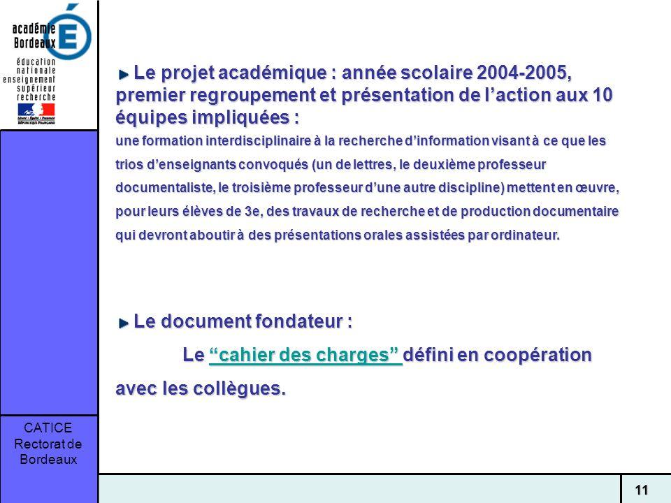 CATICE Rectorat de Bordeaux 11 Le projet académique : année scolaire 2004-2005, premier regroupement et présentation de laction aux 10 équipes impliqu