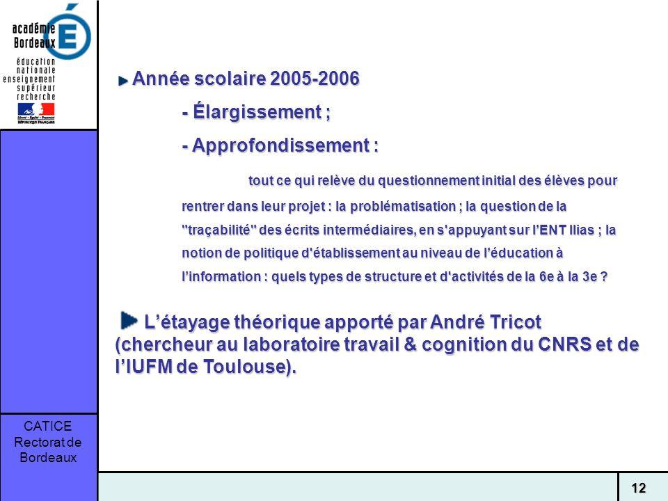 CATICE Rectorat de Bordeaux 12 Année scolaire 2005-2006 Année scolaire 2005-2006 - Élargissement ; - Approfondissement : tout ce qui relève du questio