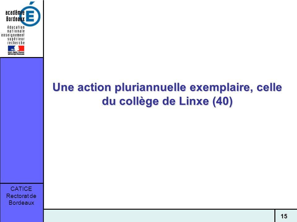 CATICE Rectorat de Bordeaux 15 Une action pluriannuelle exemplaire, celle du collège de Linxe (40)