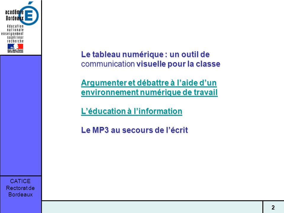 CATICE Rectorat de Bordeaux 2 Le tableau numérique : un outil de communication visuelle pour la classe Argumenter et débattre à laide dun environnemen