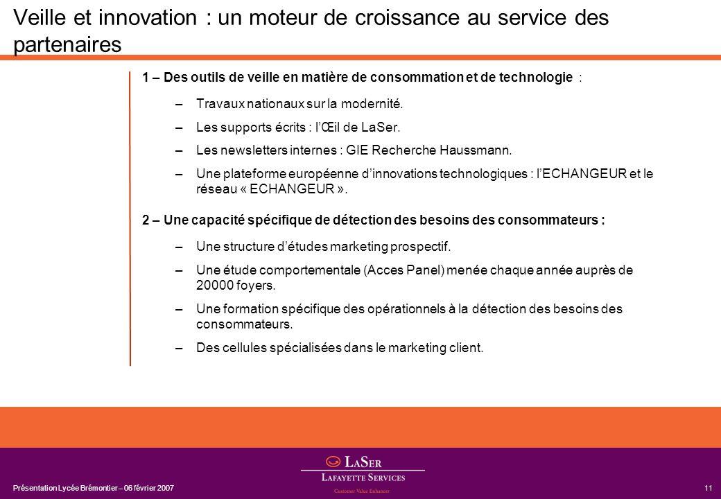 Présentation Lycée Brémontier – 06 février 200711 Veille et innovation : un moteur de croissance au service des partenaires 1 – Des outils de veille e