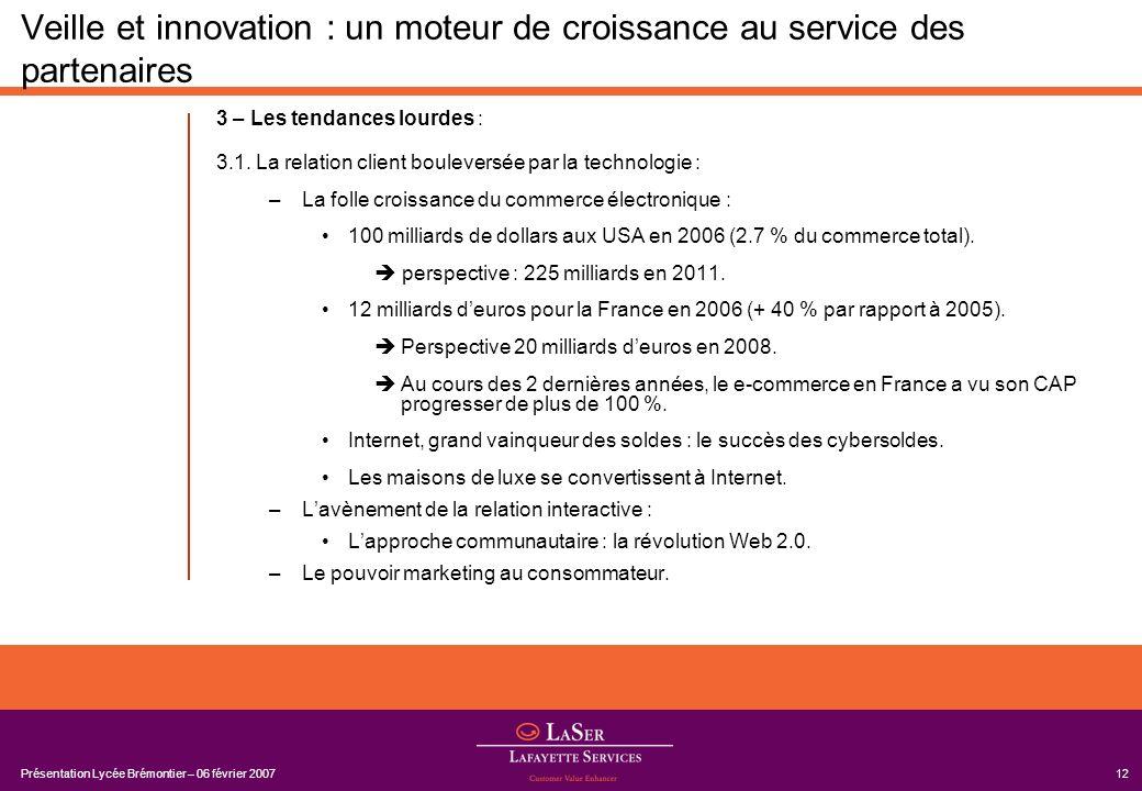 Présentation Lycée Brémontier – 06 février 200712 Veille et innovation : un moteur de croissance au service des partenaires 3 – Les tendances lourdes