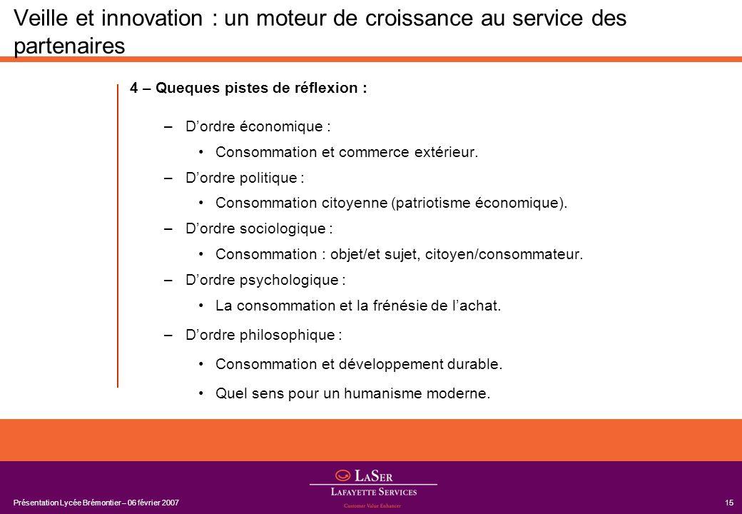 Présentation Lycée Brémontier – 06 février 200715 Veille et innovation : un moteur de croissance au service des partenaires 4 – Queques pistes de réfl