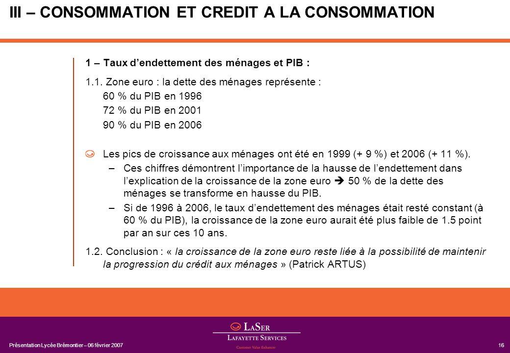 Présentation Lycée Brémontier – 06 février 200716 III – CONSOMMATION ET CREDIT A LA CONSOMMATION 1 – Taux dendettement des ménages et PIB : 1.1. Zone