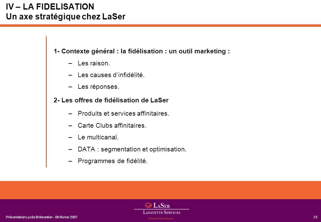Présentation Lycée Brémontier – 06 février 200723 IV – LA FIDELISATION Un axe stratégique chez LaSer 1- Contexte général : la fidélisation : un outil