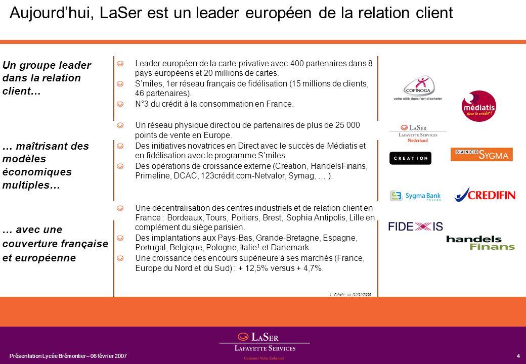Présentation Lycée Brémontier – 06 février 20074 Aujourdhui, LaSer est un leader européen de la relation client Leader européen de la carte privative