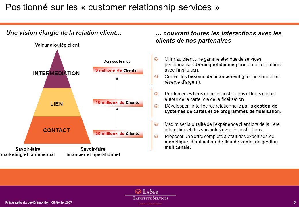 Présentation Lycée Brémontier – 06 février 20075 Positionné sur les « customer relationship services » Renforcer les liens entre les institutions et l