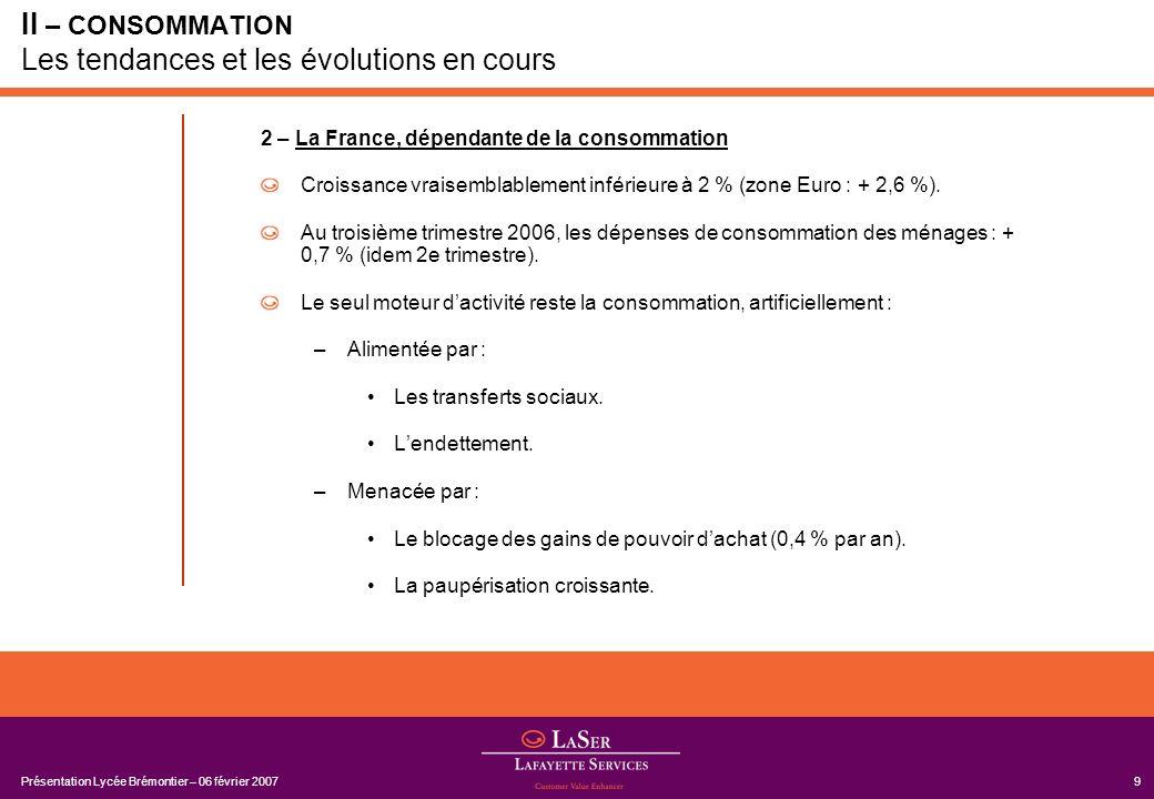 Présentation Lycée Brémontier – 06 février 200710 II – CONSOMMATION Les tendances et les évolutions en cours T4/05T1/06T2/06T3/06 PIB0.20.51.10.0 Importations2.81.32.90.1 Dépenses de consommation des ménages 0.60.90.7