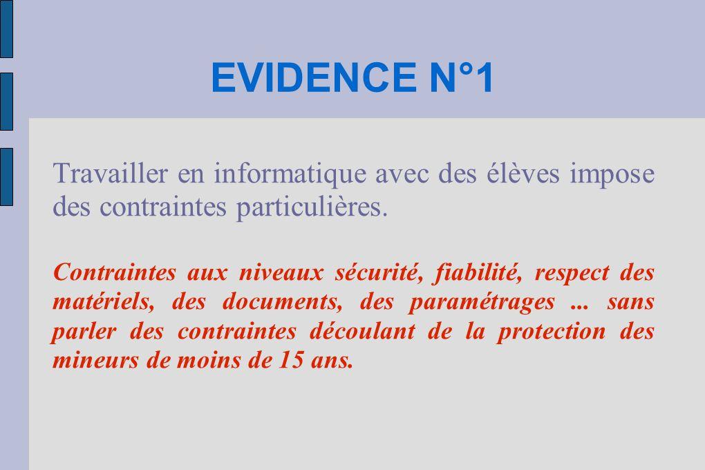 EVIDENCE N°1 Travailler en informatique avec des élèves impose des contraintes particulières. Contraintes aux niveaux sécurité, fiabilité, respect des