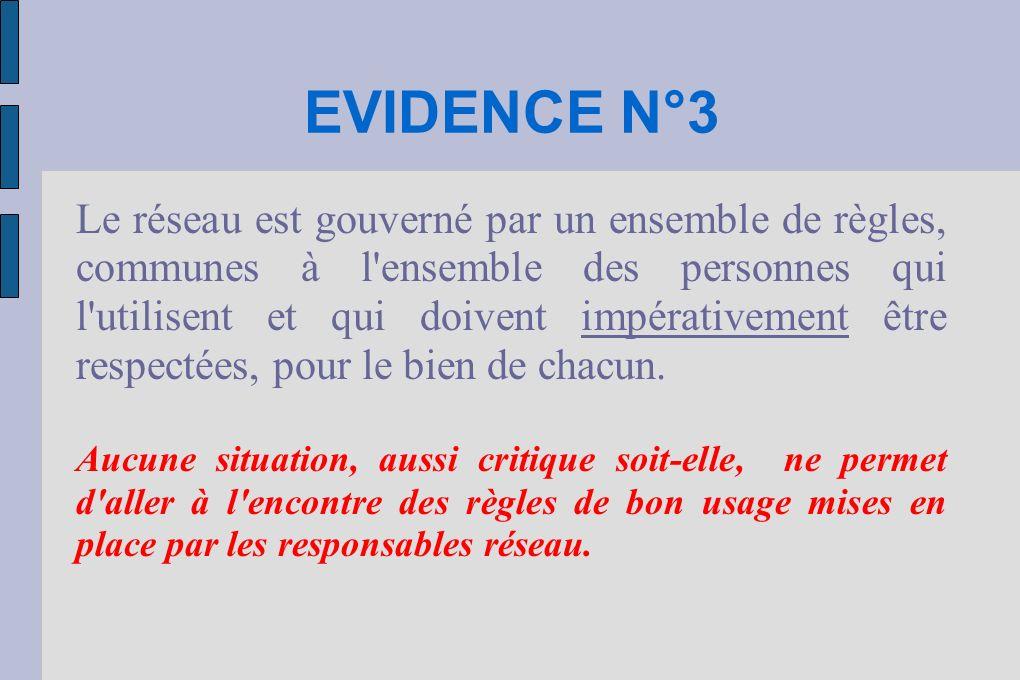 EVIDENCE N°3 Le réseau est gouverné par un ensemble de règles, communes à l ensemble des personnes qui l utilisent et qui doivent impérativement être respectées, pour le bien de chacun.