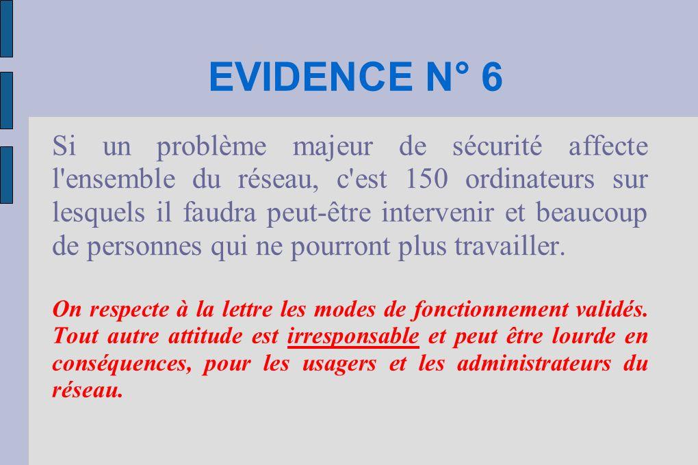 EVIDENCE N° 6 Si un problème majeur de sécurité affecte l'ensemble du réseau, c'est 150 ordinateurs sur lesquels il faudra peut-être intervenir et bea