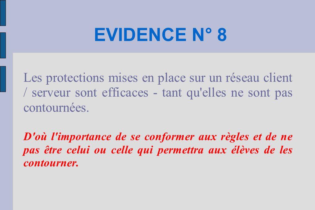 EVIDENCE N° 8 Les protections mises en place sur un réseau client / serveur sont efficaces - tant qu'elles ne sont pas contournées. D'où l'importance