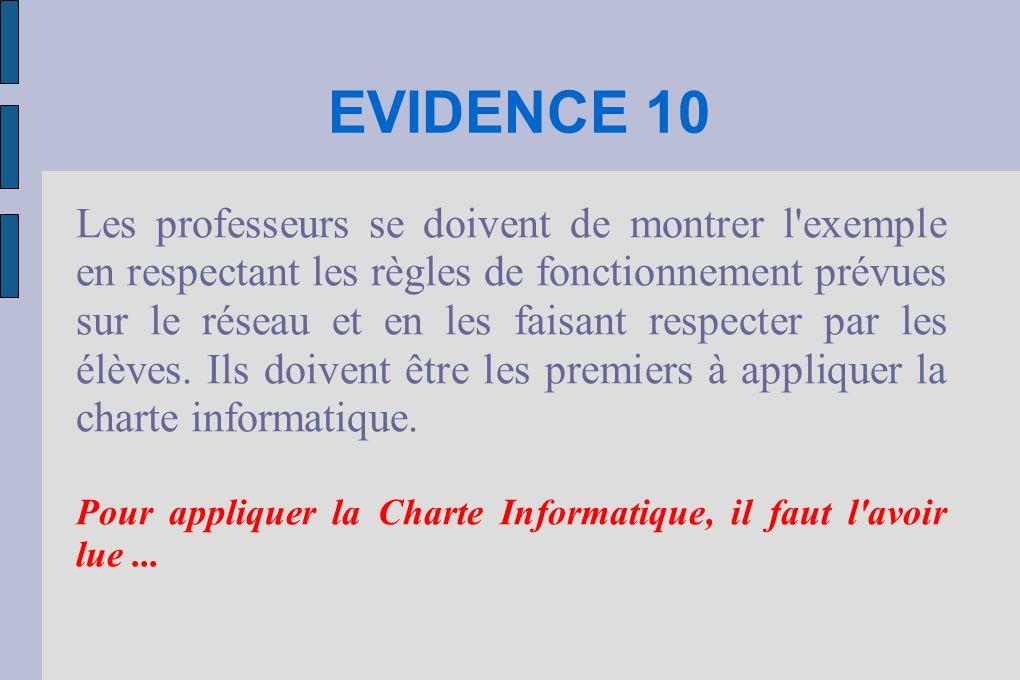 EVIDENCE 10 Les professeurs se doivent de montrer l exemple en respectant les règles de fonctionnement prévues sur le réseau et en les faisant respecter par les élèves.
