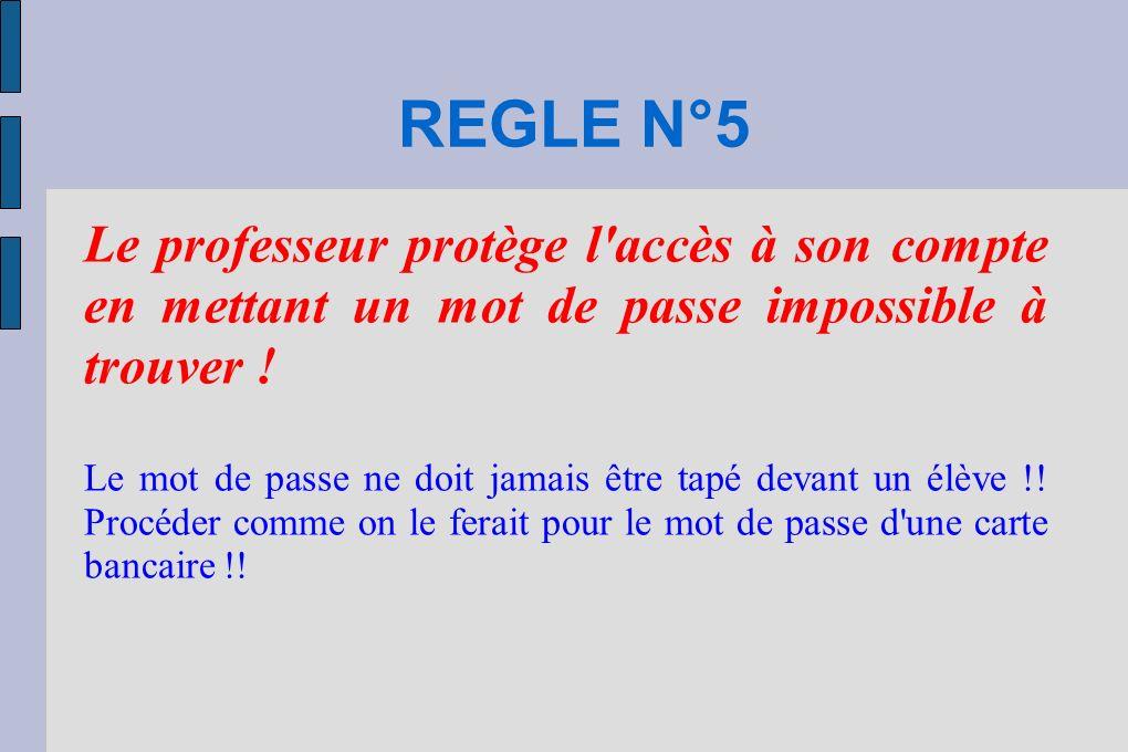 REGLE N°5 Le professeur protège l accès à son compte en mettant un mot de passe impossible à trouver .