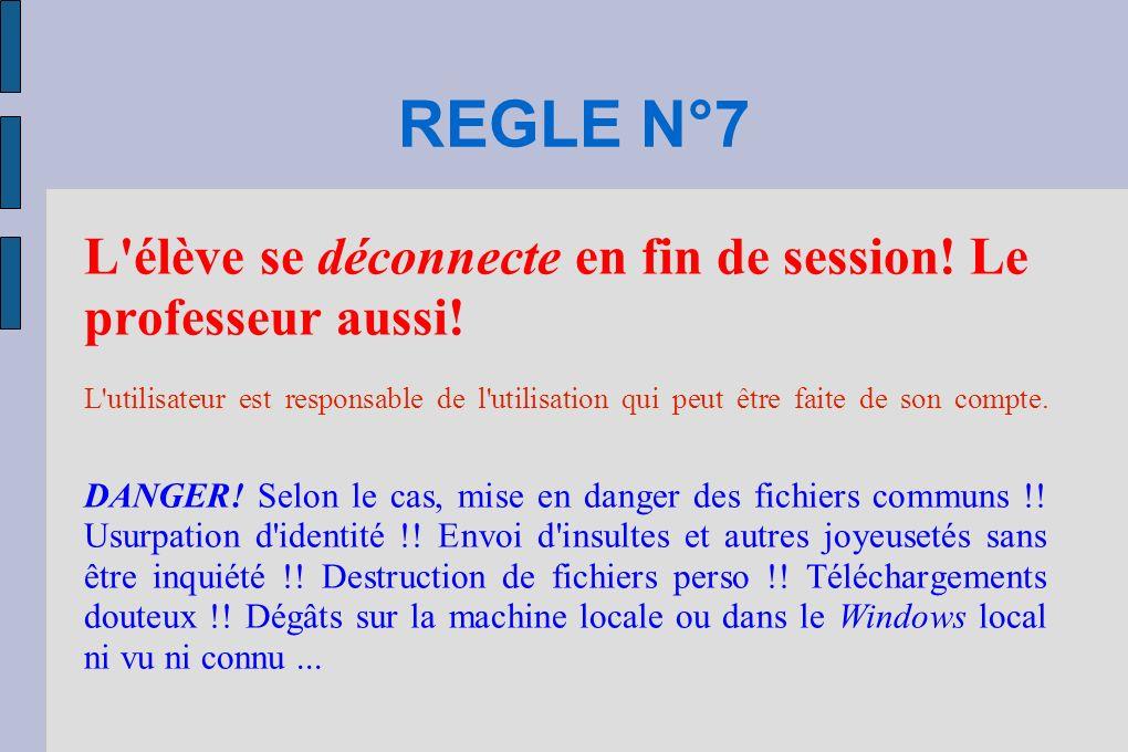 REGLE N°7 L élève se déconnecte en fin de session.