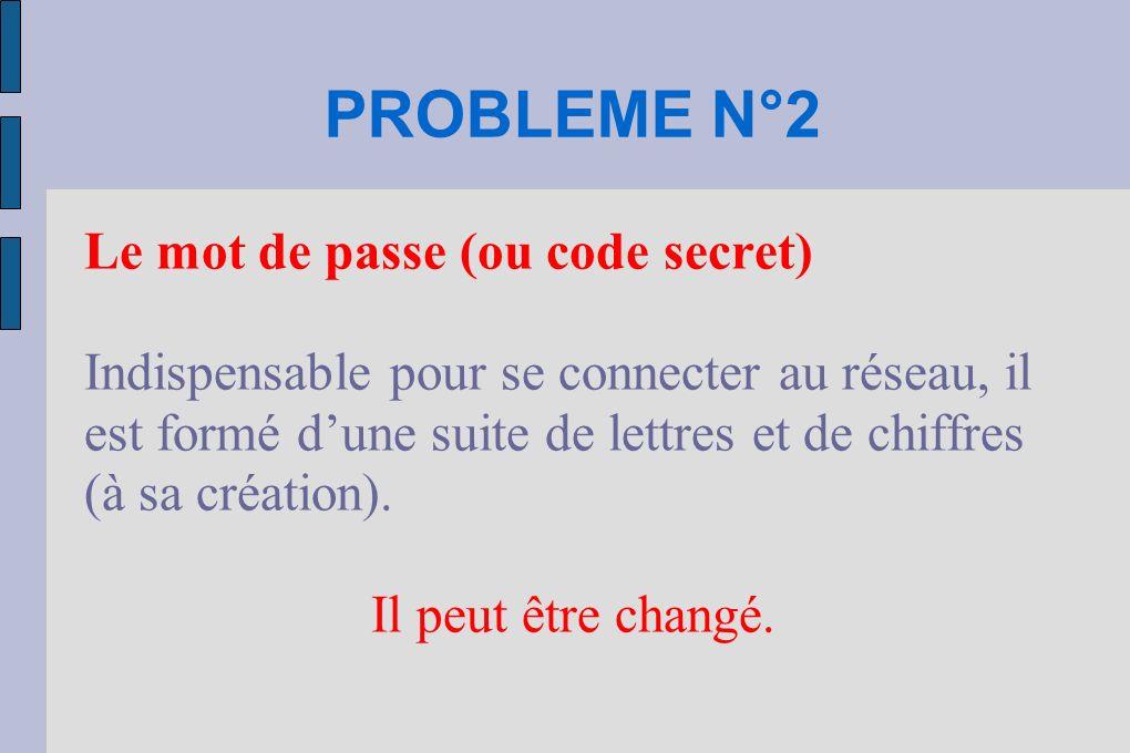 PROBLEME N°2 Le mot de passe (ou code secret) Indispensable pour se connecter au réseau, il est formé dune suite de lettres et de chiffres (à sa création).