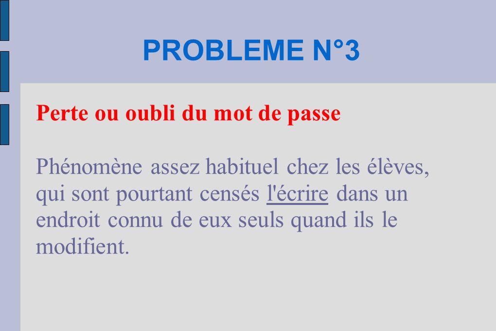 PROBLEME N°3 Perte ou oubli du mot de passe Phénomène assez habituel chez les élèves, qui sont pourtant censés l'écrire dans un endroit connu de eux s