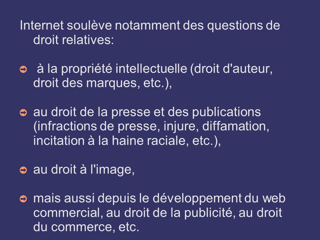 Internet soulève notamment des questions de droit relatives: à la propriété intellectuelle (droit d'auteur, droit des marques, etc.), au droit de la p