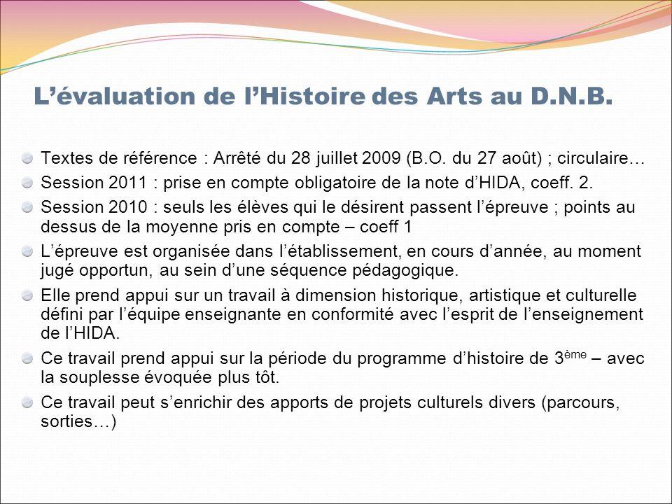 Lévaluation de lHistoire des Arts au D.N.B. Textes de référence : Arrêté du 28 juillet 2009 (B.O.