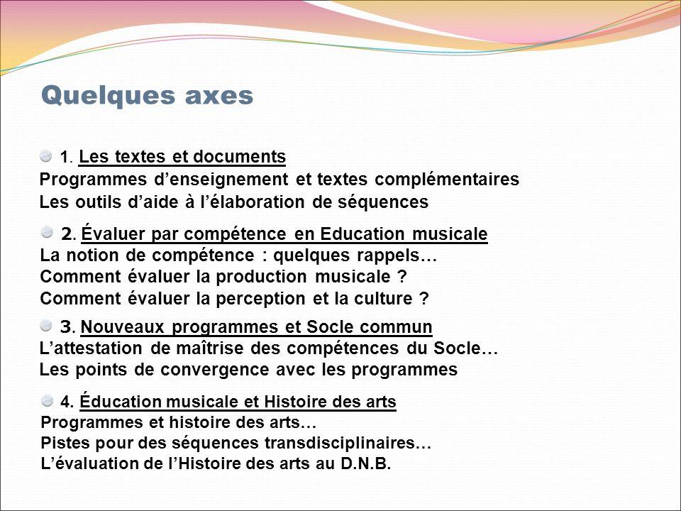 1. Les textes et documents Programmes denseignement et textes complémentaires Les outils daide à lélaboration de séquences 4. Éducation musicale et Hi