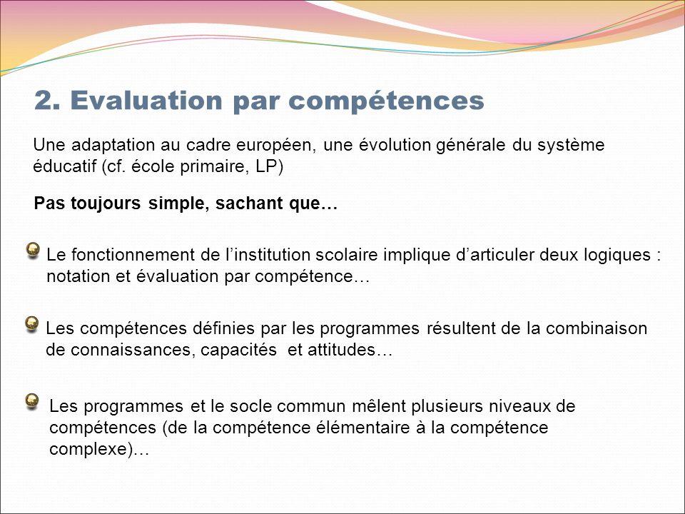 2. Evaluation par compétences Les programmes et le socle commun mêlent plusieurs niveaux de compétences (de la compétence élémentaire à la compétence