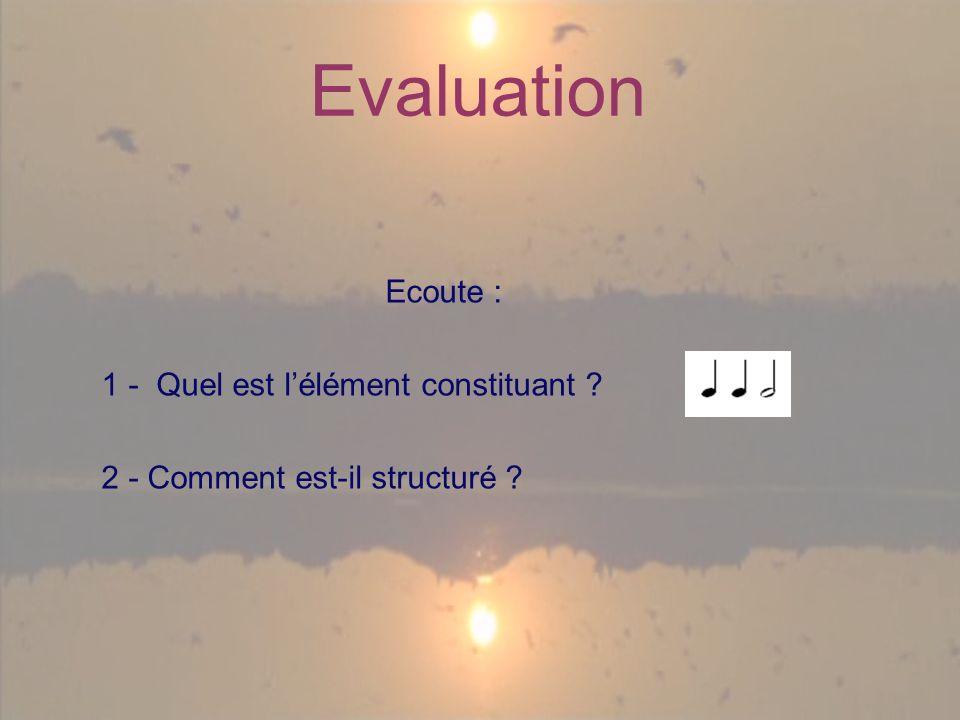 Evaluation Ecoute : 1 - Quel est lélément constituant 2 - Comment est-il structuré