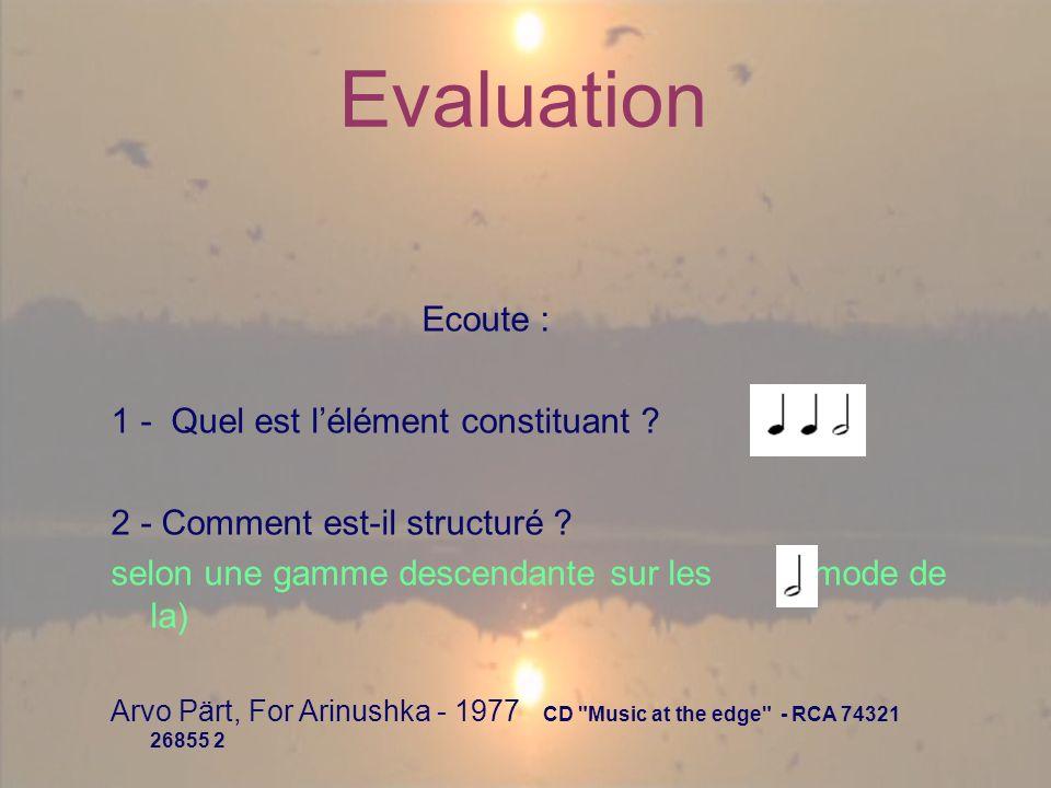 Evaluation Ecoute : 1 - Quel est lélément constituant .