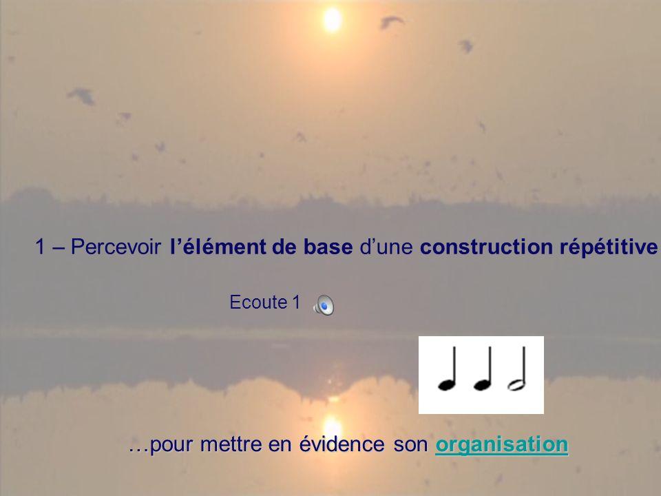1 – Percevoir lélément de base dune construction répétitive Ecoute 1 …pour mettre en évidence son organisation organisation
