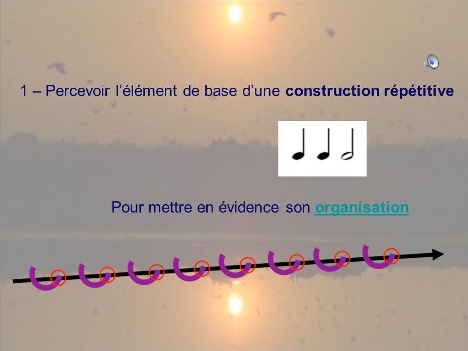 1 – Percevoir lélément de base dune construction répétitive Pour mettre en évidence son organisationorganisation