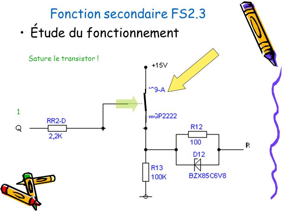 Fonction secondaire FS2.3 Étude du fonctionnement Sature le transistor ! Q 1